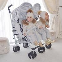 My Babiie Billie Faiers Grey Chevron Double Stroller MB22